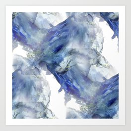 Soft abstract blue paint splotches Art Print