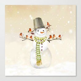 Snowman and Birds Canvas Print