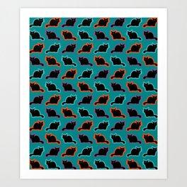 Curious cat pattern Art Print
