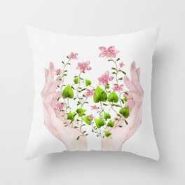 Blooming Hands Throw Pillow
