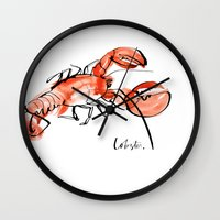 lobster Wall Clocks featuring Lobster  by Julie Song Ink