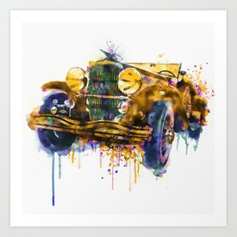 Oldtimer Automobile Watercolor Painting Art Print