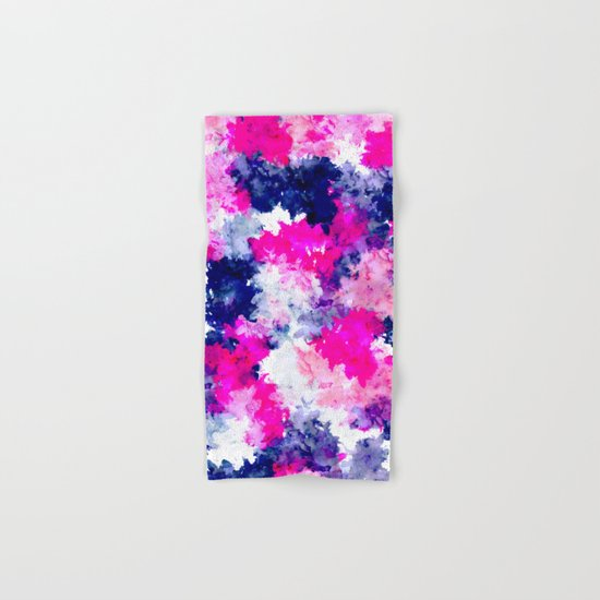 Hand painted pink purple watercolor abstract brushstrokes  Hand & Bath Towel