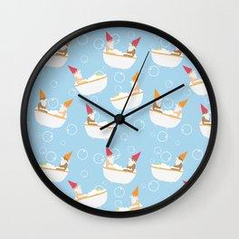 Rub a Dub Two Gnomes in a Tub - Blue Wall Clock
