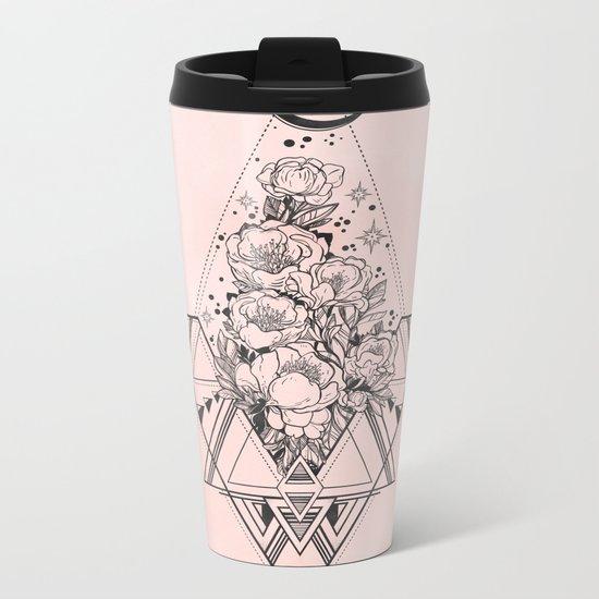 Roses in Moonlight Pink Metal Travel Mug