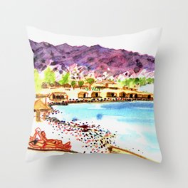 Nuweiba beach life Sinai Throw Pillow