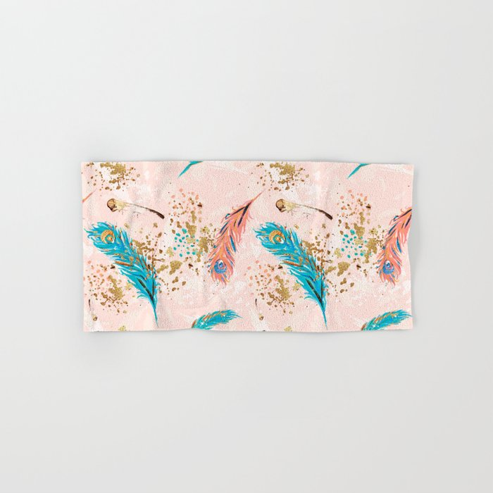 Feather peacock peach mint #5 Hand & Bath Towel