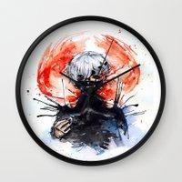 tokyo ghoul Wall Clocks featuring Tokyo Ghoul - Kaneki Ken by Kayla Phan