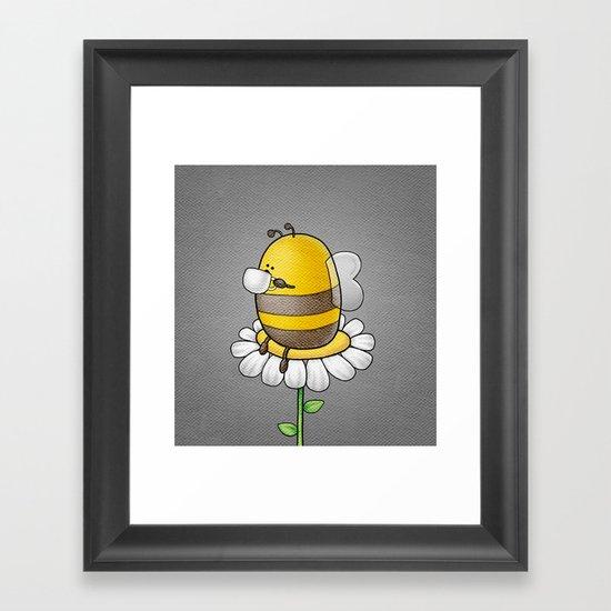 Bee Drinking Tea Framed Art Print