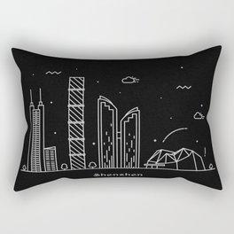 Shenzhen Minimal Nightscape / Skyline Drawing Rectangular Pillow