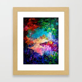 WELCOME TO UTOPIA Bold Rainbow Multicolor Abstract Painting Forest Nature Whimsical Fantasy Fine Art Framed Art Print