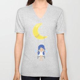 Cute Fairy, Fairy On The Moon, Fairy On A Swing Unisex V-Neck