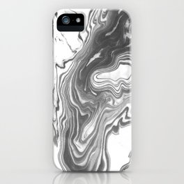 Katsuro - spilled ink marble paper map topography painting black and white minimal ocean swirl  iPhone Case