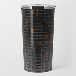 Futuristic industrial brushed metal grate with glowing lines Travel Mug