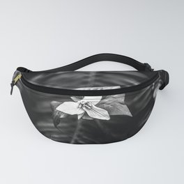 Trillium Flowers Pacific Northwest - Black and White Nature Photography Fanny Pack