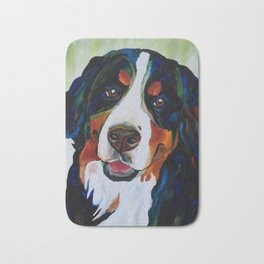 Colorful Bernese Mountain Dog Bath Mat