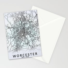 Worcester, MA, USA, White, City, Map Stationery Cards