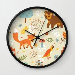 Woodland pattern Wall Clock