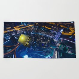 Tardis doctor who flying above modern starry night city Beach Towel