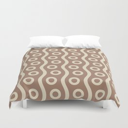 Mid Century Modern Rising Bubbles Pattern 2 Brown and Cream Duvet Cover