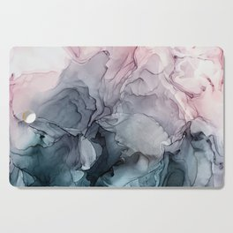 Blush and Payne's Grey Flowing Abstract Painting Cutting Board
