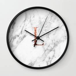 Monogram rose gold marble L Wall Clock