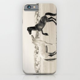 Wild Horses 4 - Black and White iPhone Case