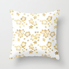 Gold Tropical Flowers Throw Pillow