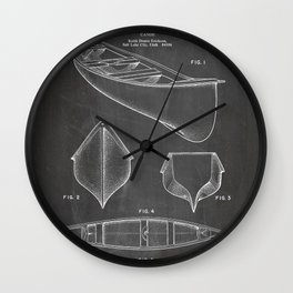 Canoe Patent - Kayak Art - Black Chalkboard Wall Clock