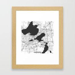 Madison Map Gray Framed Art Print