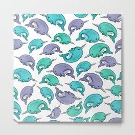 Narwhal Print, Blue, Green, Purple Narwhals Metal Print