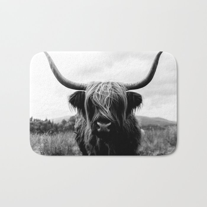 Scottish Highland Cattle Black and White Animal Bath Mat
