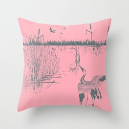 Oriental Exotic Heron & Birds on a Lake Print - Pink Throw Pillow