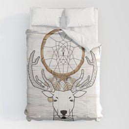 Boho Chic Minimalist Whitewashed Wood Dream Catcher Nordic Scandinavian Deer Comforters