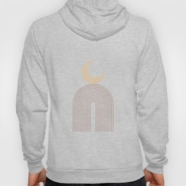Geometric Lines in Terracotta and Beige 18 (Rainbow and Moon Abstraction) Hoody