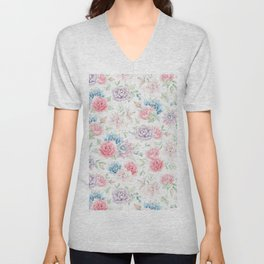 Blush pink teal watercolor hand painted cactus flowers Unisex V-Neck