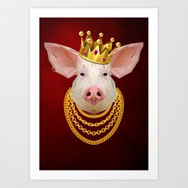 The King of Pigs Art Print
