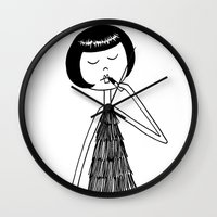 lipstick Wall Clocks featuring Lipstick by flapper doodle