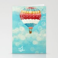 hot air balloons Stationery Cards featuring Hot Air Balloons 1 by Music of the Heart