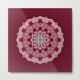 Elegant burgundy red flower mandala Metal Print