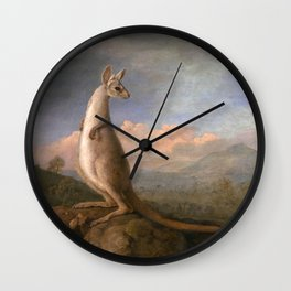 The Kongouro Oil Painting by Australian Artist George Stubbs Wall Clock