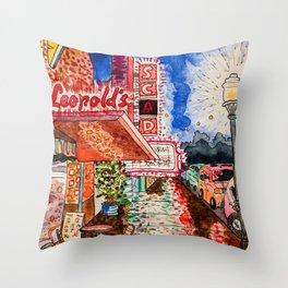 Rainy Night Wander Throw Pillow