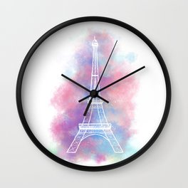 Eiffel Tower Water Color Sketch Wall Clock