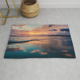 Beautiful Summer Beach Sunset Reflection Rug