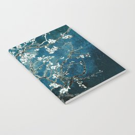Van Gogh Almond Blossoms : Dark Teal Notebook
