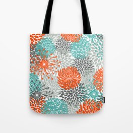 Orange and Teal Floral Abstract Print Tote Bag