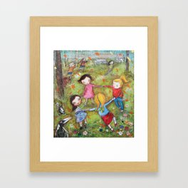Autumn Mistral, playing ring-a-ring-a-rosie on a windy day Framed Art Print