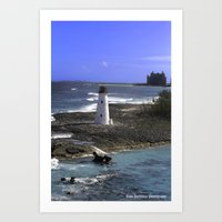 Beautiful lighthouse guards the harbor Art Print