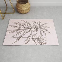 Cordyline pink plant - botanical line art drawing by Bloomartgallery Rug