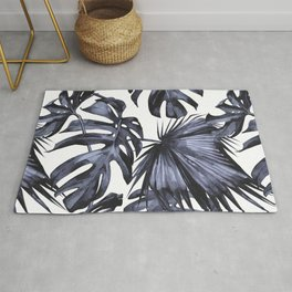 Classic Palm Leaves Navy Blue Rug